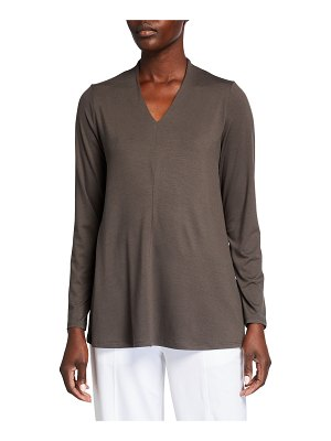 Eileen Fisher V-Neck Long-Sleeve Jersey Top