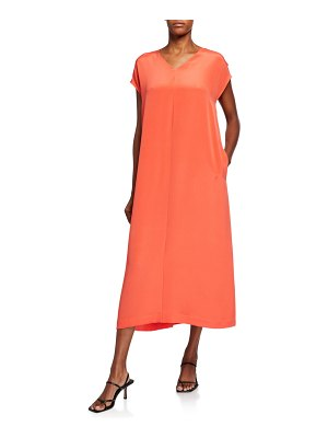 Eileen Fisher V-Neck Short-Sleeve Silk Double Crepe Maxi Dress
