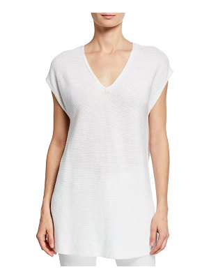 Eileen Fisher V-Neck Short-Sleeve Textured Organic Linen-Cotton Tunic Sweater