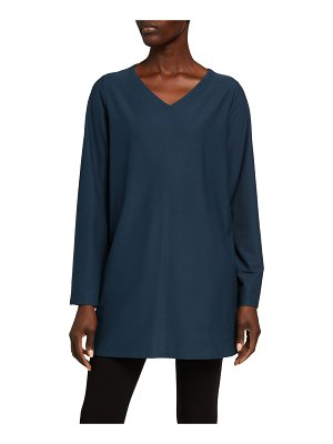 Eileen Fisher V-Neck Stretch Crepe Side Slit Tunic