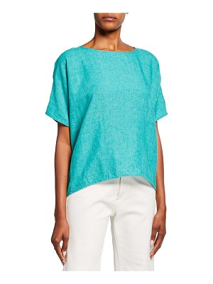 Eileen Fisher Washed Organic Linen Delave Boxy Top