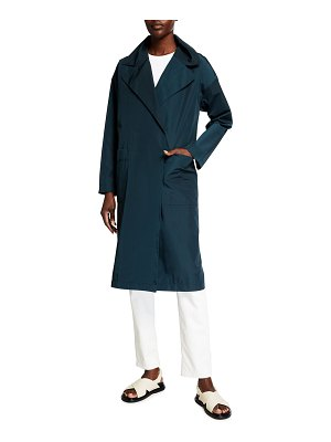 Eileen Fisher Weather-Resistant Notch-Collar Trench Coat