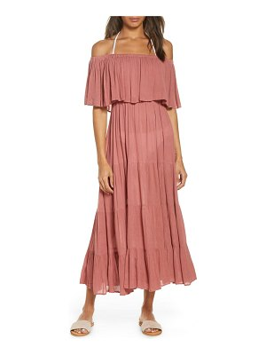 Elan off the shoulder ruffle cover-up maxi dress