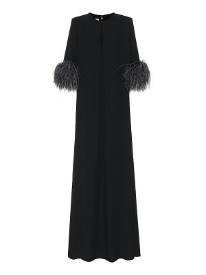 Elie Saab feather-trimmed crêpe gown