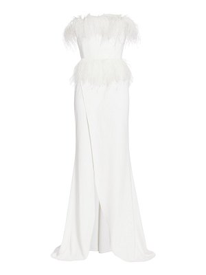 Elie Saab strapless crepe & feather gown