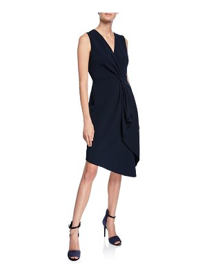 Elie Tahari Adrianne V-Neck Sleeveless Asymmetric Cocktail Dress