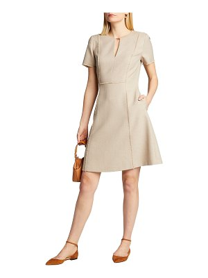 Elie Tahari Ariel Short-Sleeve Twill Dress