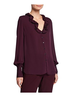 Elie Tahari Azra Silk Button-Down Long-Sleeve Blouse