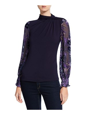 Elie Tahari Carrie Mock-Neck Sheer Blouson-Sleeve Top