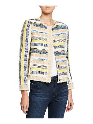Elie Tahari Ceanna Button-Front Checkered Tweed Jacket