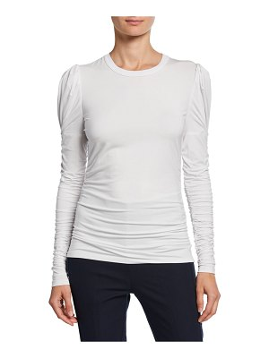 Elie Tahari Daisy Crewneck Ruched Long-Sleeve Knit Top