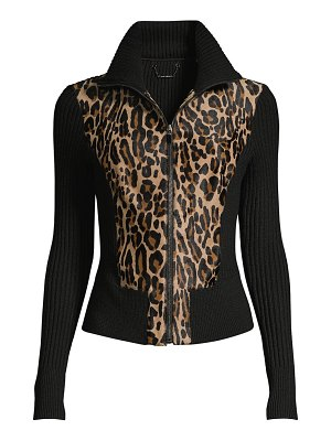 Elie Tahari evita jaguar calf hair rib-knit jacket
