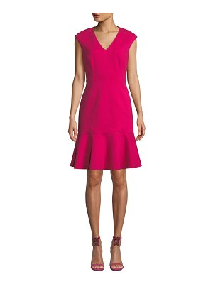 Elie Tahari Kadisha V-Neck Flounce Dress