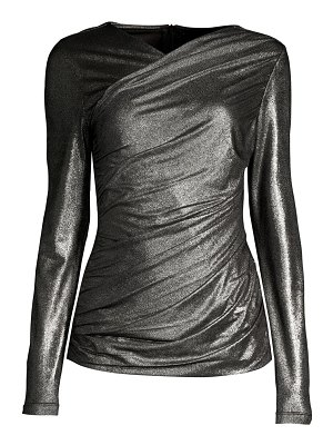 Elie Tahari lana metallic ruched top