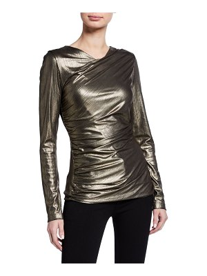Elie Tahari Sadira Metallic Long-Sleeve Ruched Knit Top