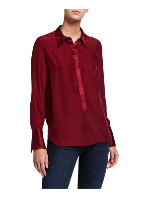 Elie Tahari Safiya Long-Sleeve Button-Down Silk Blouse