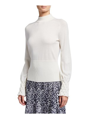 Elie Tahari Skylar Mock-Neck Textured Cuff Merino Wool Sweater