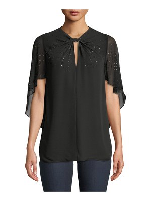 Elie Tahari Yona Cape-Sleeve Sequin Silk Blouse