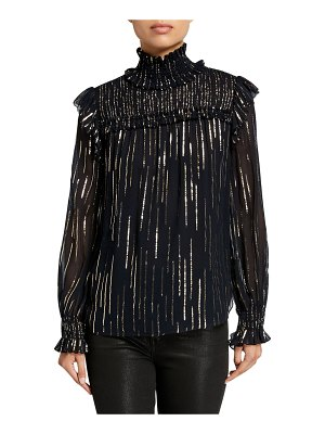 Elie Tahari Zariah Metallic Striped Turtleneck Long-Sleeve Blouse