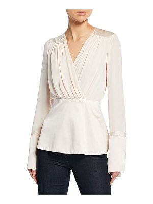 Elie Tahari Zina V-Neck Long-Sleeve Silk Blouse