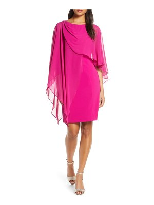 Eliza J chiffon cape cocktail dress