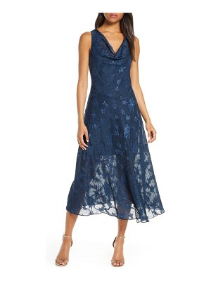 Eliza J cowl neck jacquard midi dress