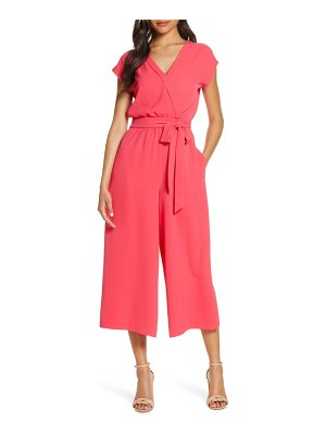 Eliza J faux wrap crop jumpsuit