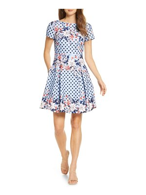 Eliza J floral dot scuba crepe fit & flare dress