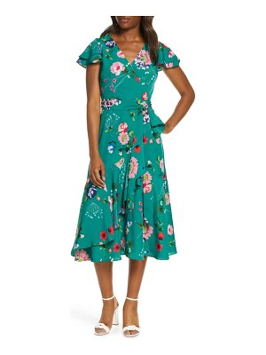 Eliza J floral flutter midi faux wrap dress
