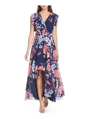 Eliza J floral high/low faux wrap chiffon dress