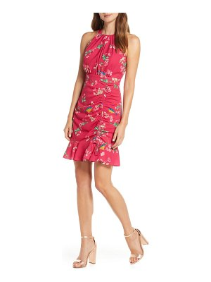 Eliza J floral ruched ruffle minidress