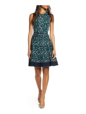 Eliza J print sleeveless fit & flare sweater dress