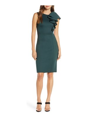 Eliza J ruffle scuba sheath dress