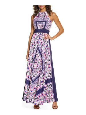 Eliza J scarf print halter neck maxi dress