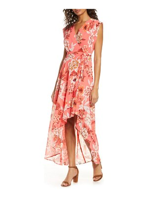 Eliza J surplice high/low chiffon maxi dress