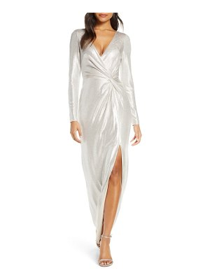 Eliza J twist front long sleeve metallic gown