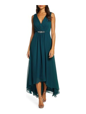 Eliza J wrap look high/low chiffon dress