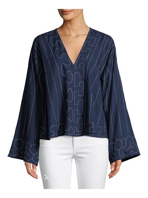 Elizabeth and James Orchid Geometric Wide-Sleeve Top