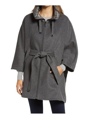 Ellen Tracy quilted collar wool blend cape