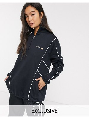 Ellesse tracksuit jacket with half zip and reflective piping two-piece-black