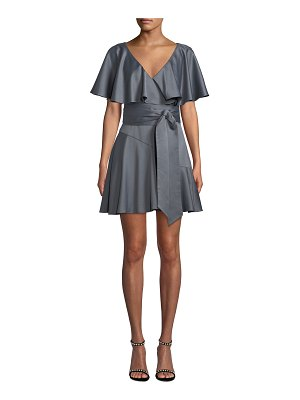 ELLIATT Haven V-Neck Draped-Sleeve Satin Dress w/ Self-Tie Waist