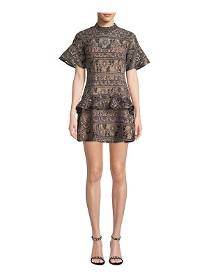ELLIATT Spark Crewneck Short-Sleeve Embroidered Mini Dress