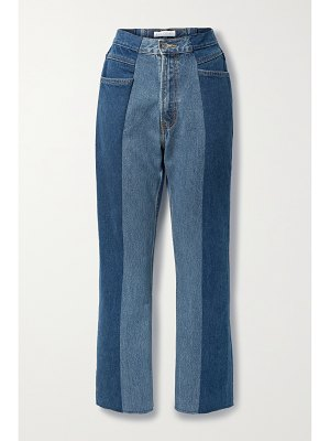E.L.V. Denim + net sustain the twin cropped frayed two-tone high-rise flared jeans