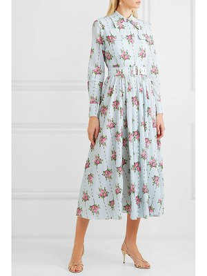 EMILIA WICKSTEAD aurora belted floral-print swiss-dot cotton-blend seersucker dress