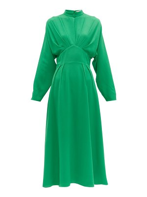 EMILIA WICKSTEAD autumn pleated high-neck crepe midi dress
