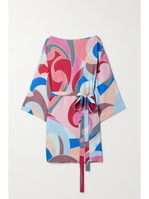 Emilio Pucci + net sustain belted printed woven mini dress