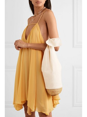 Emily Levine knot cotton-canvas and wicker tote