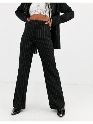 Emory Park high waist straight leg pants in pinstripe two-piece-black