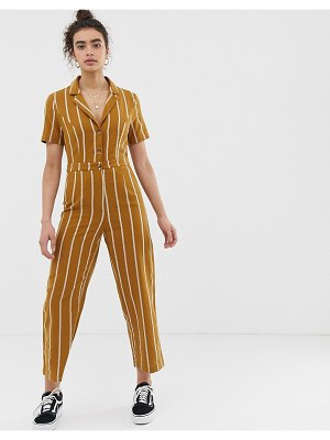 Emory Park tailored jumpsuit in pinstripe-yellow