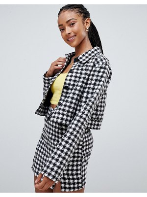 Emory Park trucker jacket in houndstooth two-piece-black